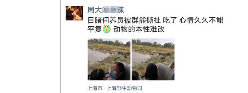 [视频]网曝细节,上海野生动物园一饲养员被熊群攻击遇难,猛兽区已关闭,具体情况正在进行调查